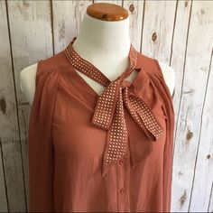 "Love Culture Tie-Neck Blouse A light burnt umber color with rose gold studs lining the tie. High low hem with longer sides. Sheer. Pre-loved. Excellent condition.                 ⭐️Size Small ⭐️Bust 38"" ⭐️Length (front) 23-33"" (back) 29"" Love Culture Tops Blouses"