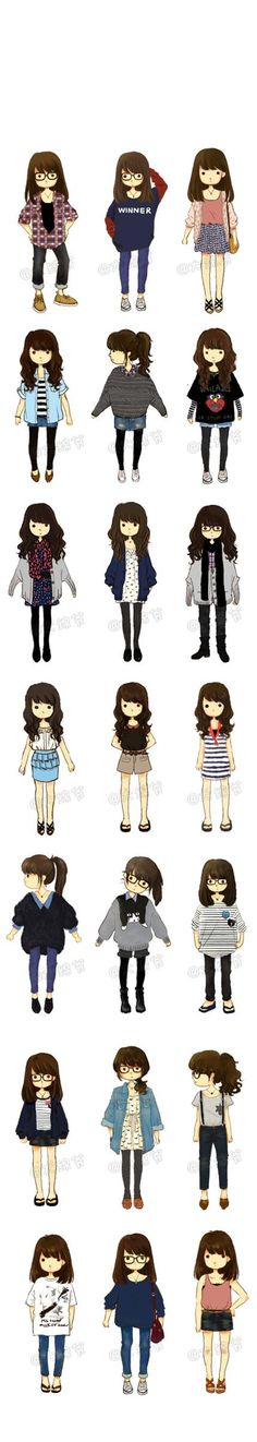 Cute drawings and outfits. Apparently it's hipster. Manga Outfits, Hipster Outfits, Hipster Fashion, Cute Fashion, Asian Fashion, Look Fashion, Fashion Design, Fashion Outfits, Trendy Fashion