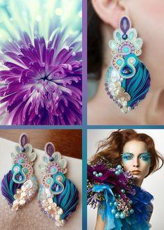 Earrings, designed by Serena Di Mercione. - Shibori silk, soutache, swarovski…