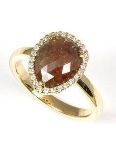"Pear Shaped 1.75 carat Natural Cognac Diamond ""In The Rough"" Ring - Wilsonville Diamond"
