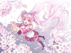 Konachan.com - 216595 aliasing flowers hatsune_miku long_hair petals pink_eyes pink_hair sakura_miku skirt tagme_(artist) tattoo tie twintails vocaloid white.jpg (1600×1200)