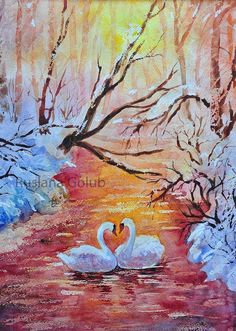 Swans on the winter sunset Watercolor painting Valentine's day In love Nature lovers Snow pond Colorful illustration gift Wall art print Watercolor Sunset, Watercolor Art Paintings, Sunset Landscape, Landscape Art, Original Art, Original Paintings, Winter Sunset, Swans, Wall Art Prints