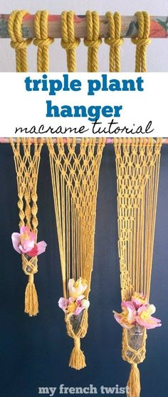 This macrame triple plant hanger on this sweet decoupaged wooden dowel definitely has a romantic boho vibe! Check out the tutorial. Wall Plant Hanger, Plant Wall, Macrame Knots, Micro Macrame, Macrame Projects, Diy Craft Projects, Craft Ideas, Braided Hairstyles For Wedding, Wedding Updo