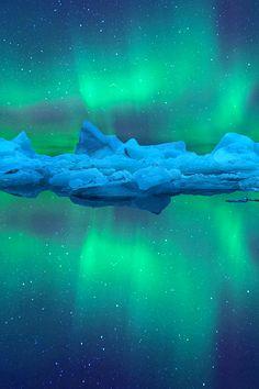 northern lights glacier    imalikshake:   Aurora Reflection BY peerakit_popcity
