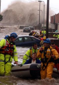 Coastguard rescue during the tidal surge floods December 2013, UK