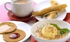 Receta de Crepes de quinoa, zumo de melón con vainilla y leche de cacao