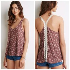 Forever 21 Floral Split-Back Cami Tank Top Lace New with tags. ✨Price is Firm unless is Bundle! Save $$$ when bundling with other items. NO TRADE Forever 21 Tops Tank Tops