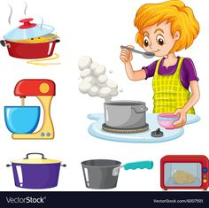 Woman cooking and other kitchen objects vector image on VectorStock Preschool Family Theme, Zoo Preschool, Preschool Rooms, Preschool Themes, Learning Cards, Life Hacks For School, Community Helpers, Sensory Bins, Infant Activities