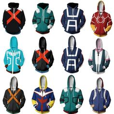 Cosplay My Hero Academia Boku no Hero Academia Cosplay Costumes Men Women Sweatshirt Fashion zipper Hoodie School Uniforms Jackets Coat - Features: Condition: Brand new and high quality Material: Polyester Color: as the photo shows Size: Style: Anime Cosp Cosplay Outfits, Anime Outfits, Cosplay Costumes, Deku Cosplay, Cosplay Anime, My Hero Academia Merchandise, Anime Merchandise, Moda Pop, 3d Man