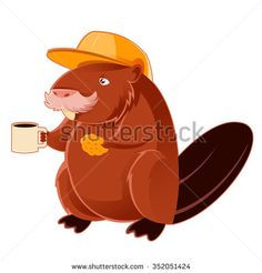 Vector image of a Beaver and the cup of coffee - stock vector