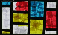 mondrian-inspired-stained-glass-window easy to make great artist inspired project for toddlers