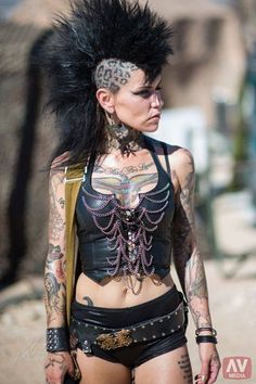 female Road Warrior / Mad Max / wasteland looks for women / post apocalyptic fashion / black leopard mohawk