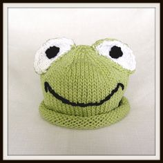 Boston Beanies Green Frog Hat Knit Cotton Baby by BostonBeanies, $30.00