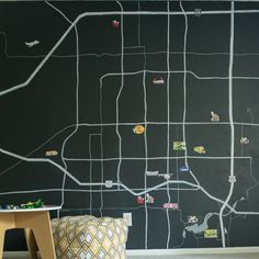 In just a few steps, you can create this personalized painted map wall!
