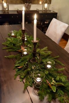 115 elegant christmas table centerpieces to your holiday decor page 16 Elegant Christmas, Rustic Christmas, Winter Christmas, Christmas Home, Christmas Crafts, Christmas Christmas, Christmas Tree Table, Christmas Greenery, Purple Christmas
