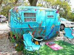 "Painted Caravan: ""Under the Sea""  Boler | Tiny trailer - vintage camper - glamping <O>"
