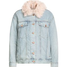 Alexander Wang Denim Jacket ($2,299) ❤ liked on Polyvore featuring outerwear, jackets, blue, blue denim jacket, lined denim jacket, fleece-lined jackets, slim fit jacket and slim fit jean jacket