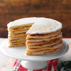 Apple Stack Cake Recipe -My mom loved to bake this sky-high cake. Layer the apple goodness two days before serving. Later, a dusting of confectioners' sugar is the only topping you'll need. Cake Recipes, Dessert Recipes, Apple Recipes, Easy Desserts, Awesome Desserts, Apple Desserts, Homemade Desserts, Meal Recipes, Homemade Cakes