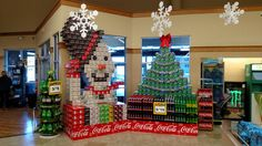 Coca Cola display Christmas tree & snowman