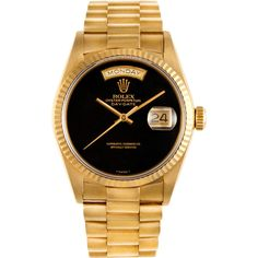 CMT Fine Watch and Jewelry Advisors Rolex Day-Date President with... ($19,500) ❤ liked on Polyvore featuring jewelry, watches, accessories, bracelets, bracelets/watches, black, black watches, 18 karat gold bracelet, vintage watches and black dial watches