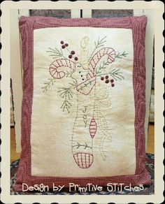 Joy Stocking-Primitive Stitchery PATTERN by Primitive Stitches-Instant Download  $2.50