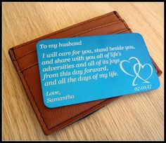 Message Card Wallet Card Wedding Groom Gift Something Message Card Wallet Card Wedding Groom Gift Anniversary Wedding Gifts For Parents, Wedding Gifts For Groom, Bride Gifts, Wedding List, Wedding Cards, Present For Groom, Wedding Giveaways, Bride And Groom Pictures, Message Card