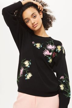 Floral Embroidered Sweatshirt - New In Fashion - New In - Topshop USA