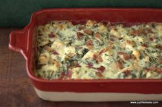 """""""This gluten free, low carb, Trim Healthy Mama S, Chicken Bacon Caesar Casserole is great when you are pressed for time. It is easy, flavorful, and can be made ahead."""" - Taryn  www.TrimHealthyMama.com"""
