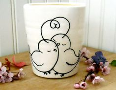 Bird Cup, Vase - PEEP - Wheel Thrown, Painted Pottery Cold Drink Glass, Coffee, Tea Tumbler - Great Mom, Baby Shower Gift. $34.00, via Etsy.