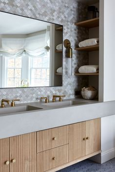 Sleepy Hollow – Master Bathroom photo by Joshua McHugh Photography Tile floor – Nemo Tile Hardware – Waterworks, SA Baxter, ER Butler Fluted millwork – custom Vanity sconces by Apparatus Sink by Kast Concrete Window treatments by Lauren Hwang Modern Bathroom Design, Bathroom Interior Design, Home Interior, Modern Bathroom Vanities, Custom Bathroom Cabinets, Boutique Interior, Luxury Interior, Bathroom Photos, Small Bathroom