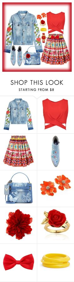 """Spring"" by bren-johnson ❤ liked on Polyvore featuring Off-White, Boohoo, Dolce&Gabbana, Valentino, Kenneth Jay Lane, Gucci, Disney, ZENZii and Versace"