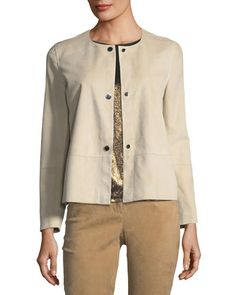 Tansy Suede Button-Up Jacket