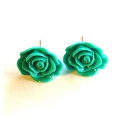 Turquoise Green Flower Stud Earring.. ❤ liked on Polyvore featuring jewelry, earrings, blue turquoise jewelry, flower stud earrings, green turquoise jewelry, turquoise earrings jewelry and earring jewelry