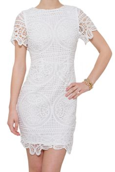 Calling all brides! Do you need a dress for you bridal shower, rehearsal dinner or bachelorette party? Look no further! This woven lace dress is brought to us by J.O.A.. Pair this with your favorite L