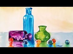 How To Paint Glass Bottles in Watercolor {LIVE Fridays!} - YouTube