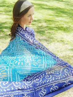 Large Blue Scarf, Blue Cotton Scarf, Indian Sarong, Blue Beach Wrap, Cover Up, Tie Dye Scarf, Festival Wrap on Etsy, $49.99