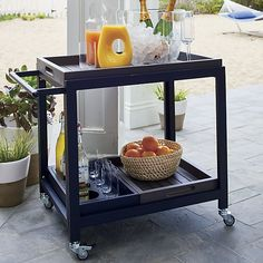 Alfresco Grey Bar Cart with Casters  | Crate and Barrel
