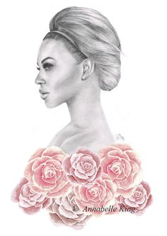 Annabelle King - Beyonce Knowles - completed using pencil, watercolour and a dry brush technique.  By Annabelle King  x