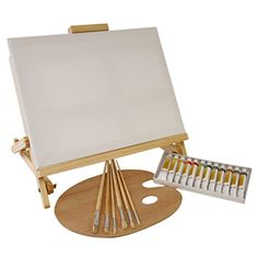 US Art Supply 21-Piece Oil Painting Set with Table Easel Us Art Supply http://www.amazon.com/dp/B00PR1UWAU/ref=cm_sw_r_pi_dp_FJuPvb0ZMTDH1