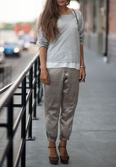 Try adding simple tees to a pair of silk track pants and heels to give your casual look a sporty yet feminine edge.