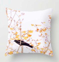 PILLOW case of blackbird Golden Crow Raven  20x20 yellow leaved cottonwood tree - home decoration