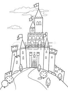 Sprookje illustratie zwart en wit middeleeuws kasteel  Stockfoto