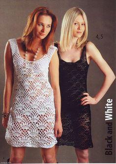 Uncinetto d'oro: Vestito bianco ed nero!!!   Free pattern