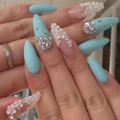 Blue Nails with Flowers via