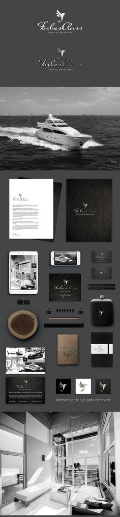 """Forbes Class es una pequeña agencia que ofrece servicios de lujo relacionados con el alquiles de viviendas, yates o coches.  """"Momentos de Lujo para Compartir"""" es su slogan y esencia.  Artwork by © Borku Branding Studio"""