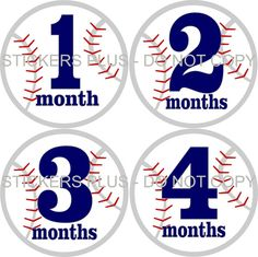 Monthly Baby Age T Shirt Stickers Boy Sports Balls Baseball - 1-12 Months Plus FREE Just Born - Gift on Etsy, $8.99
