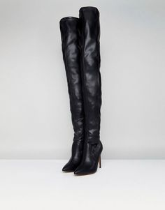 a1cb66cc598 ASOS KENDRA Point Over The Knee Boots - Black