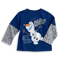 Disney Frozen Olaf Graphic Long Sleeve T-shirt, Navy (4t)