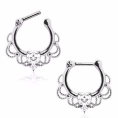 WildKlass Jewelry ~ Products ~ 316L Stainless Steel Made For Royalty Ornate Septum Clicker ~ Shopify