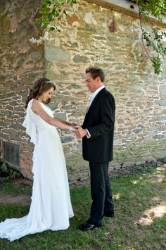 Liz & Trevor's first look ~ and a shot of Liz's stunning, unique wedding dress!